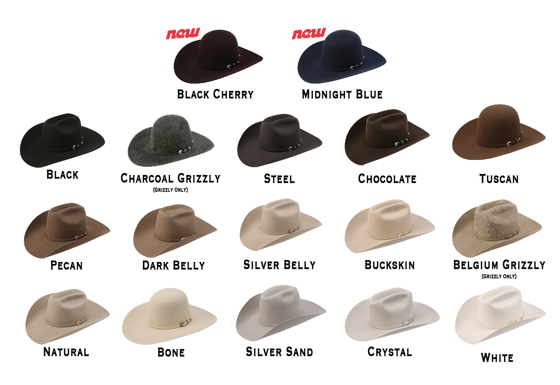 hat shapes american hat company black cherry midnight blue black charcoal grizzly steel chocolate tuscan pecan dark belly silver belly buckskin Belgium belly Belgium grizzly natural bone silver sand crystal white