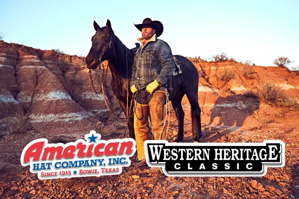 Photo of rugged cowboy in American Hat in rugged terrain
