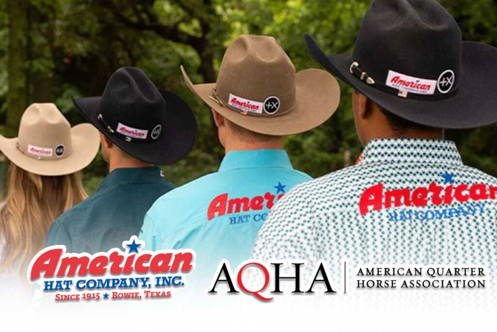 Photo of 4 professional rodeo athletes with cowboy hats on with American Hat and AQHA logos overlaying.